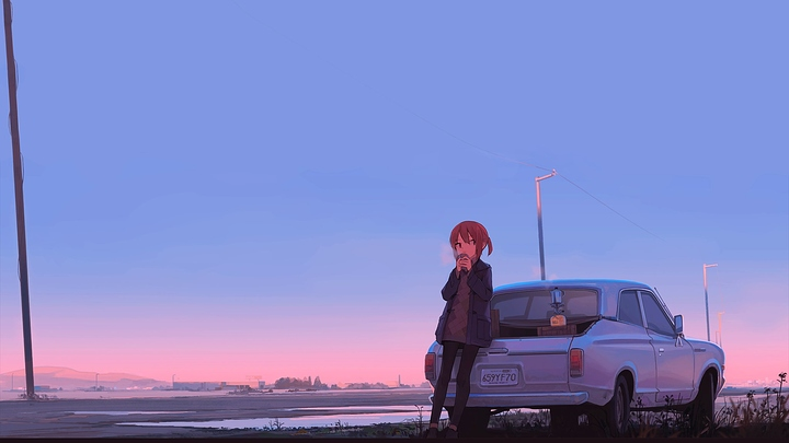 car_sunset_anime_girl_original_characters_2048x1152