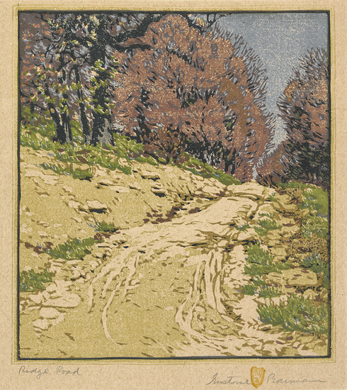 Gustave Baumann (American, 1881–1971), 'Ridge Road,' 1916–18, color woodblock print, 11 x 10 in. Indianapolis Museum of Art, John Herron Fund, 19.205. Gustave Baumann works are protected by copyright.