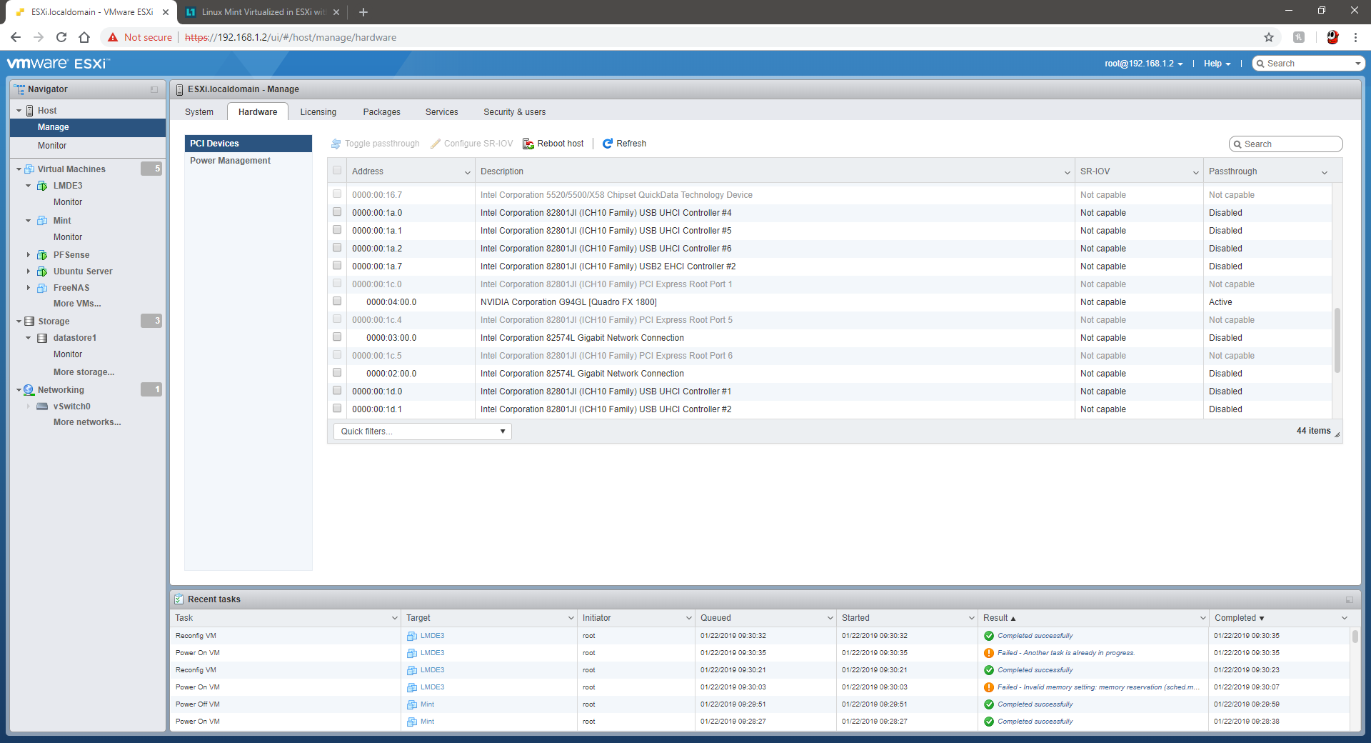 Linux Mint Virtualized in ESXi with GPU Passthrough Problem - Linux