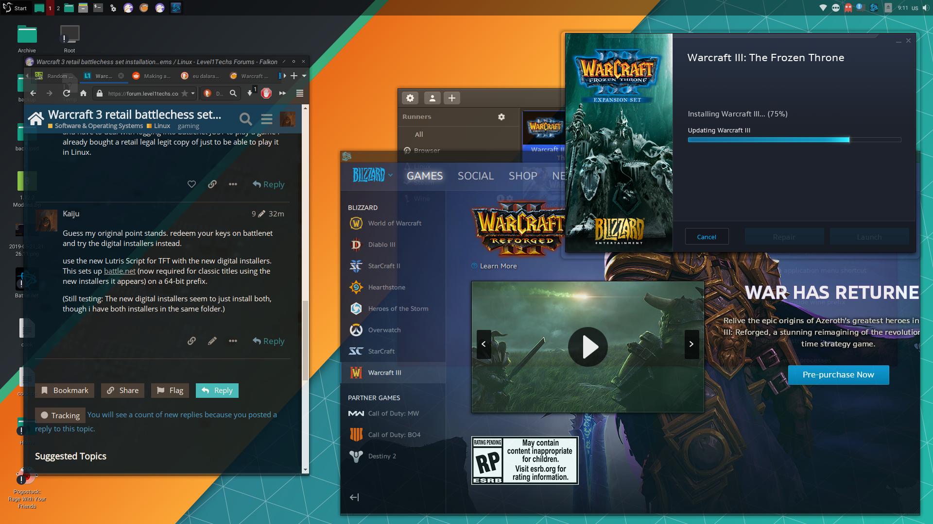 Warcraft 3 retail battlechess set installation - Linux