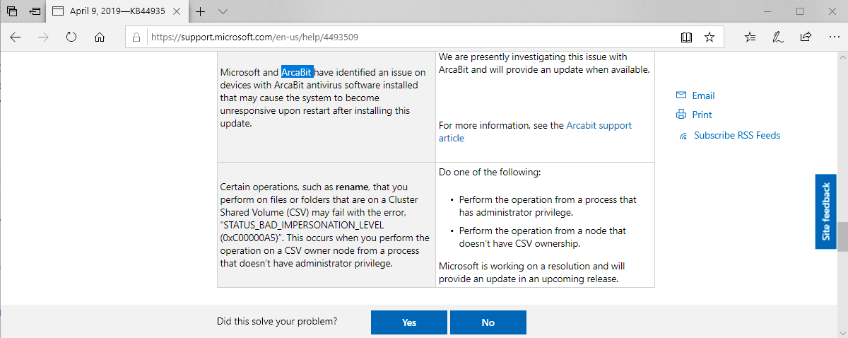 Windows 7 KB4493472 + Avast 19 4 2374 makes the system hang