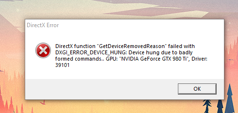 Direct x error crash is fixed post is from 6 months ago ram