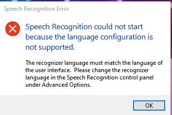 Speech Recognition Issue Screenshot